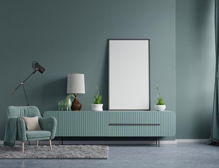 Dark Green Wall in Living Room Interior